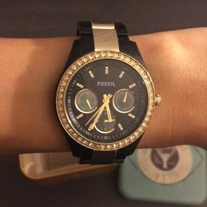 Black & Gold Fossil Watch